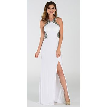 ON SPECIAL LIMITED STOCK - Poly USA 7360 Off White Slit Prom Dress Sexy Long Sheer Back