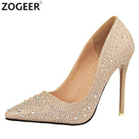 New 2017 Spring Autumn Women Pumps Sexy Black Gold Silver High Heels Shoes Fashion Luxury Rhinestone Wedding Party Shoes