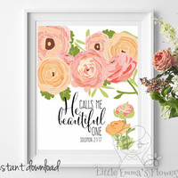 Nursery Bible verse, He calls me beautiful one, Solomon 2:1, Scripture print, Christian Print,  wall art decor, song of solomon 2