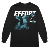 'wolf effort' longsleeve tee (black)
