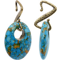 8 Gauge Handcrafted Synthetic Turquoise Rustic Southwest Ear Weights