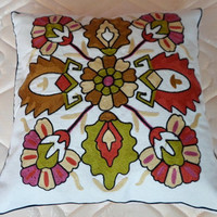 Flowers and Beetles Embroidery Pillow : Cozyhere