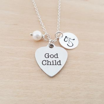 God Child Charm - Swarovski Birthstone - Initial - Personalized - Sterling Silver Necklace - Gift for Her - God Child Gift