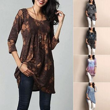 Polyester & cottons soft Summer Long Tops Vintage Printed Blouse Shirts Women Tops and Blouses Ladies Tunics