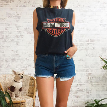 Vintage 80's 90's HARLEY DAVIDSON Classic Logo Cut Off Tank Muscle Tee || Birmingham England