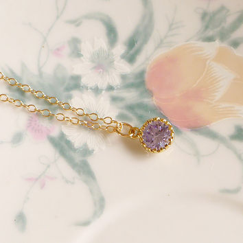 Purple CZ Gold Filled Necklace