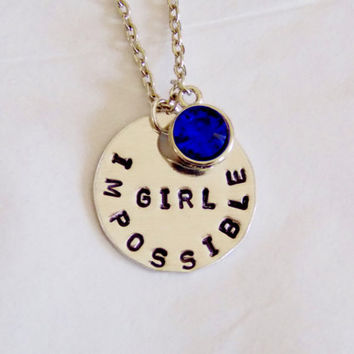 Impossible Girl Necklace. Doctor's Companion Fandom Jewelry. Hand Stamped Fandom Necklace.