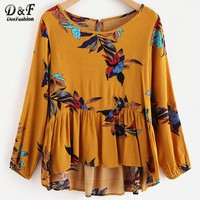 Floral Print Frill Dip Hem Casual Blouse Yellow Round Neck Woman Top Long Sleeve Ruffle Tunic Blouse