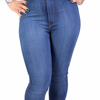 High Waist Perfect Fit Blue Indigo Skinny Denim