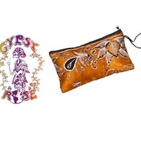 LOVE ME MADLY EMBROIDERED MAKE-UP BAG WITH METALLIC THREAD & SEQUINS: Gypsy Rose