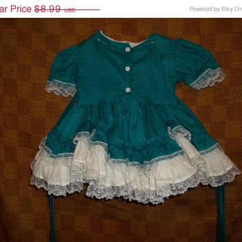 All Vintage is on Sale 35 Percent Off! Vintage Lil Dolly Dress for infant or doll dress! Little pilgrim, southern bell inspired.