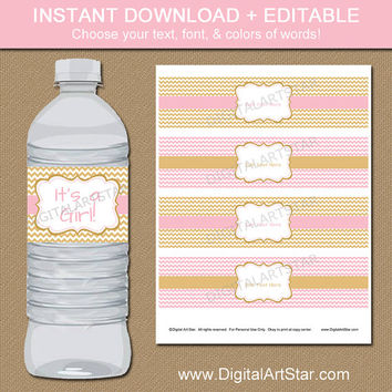 Pink and Gold Baby Shower Water Bottle Labels - Printable Pink and Gold Birthday Water Labels - EDITABLE Pink Gold Party Supplies LPGC