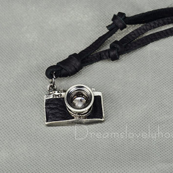 Christmas Gift, Retro Jewelry, Crystal Camera, Camera Necklace, Brown Leather Necklace, Vintga Necklace, Gift for Lover LN-2-1