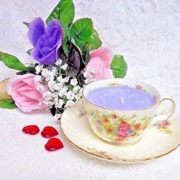Vintage, Minton Lorrain, Bone china Candle Cup and saucer  Lavender Fields scent