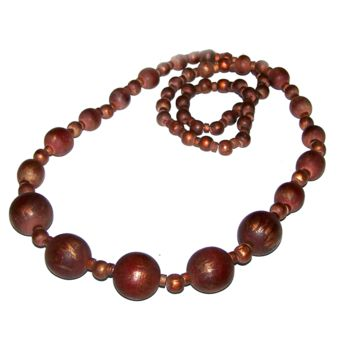 Vintage Wood Necklace / Wood Bead Strand / Long Graduated -Dark with Copper Accent