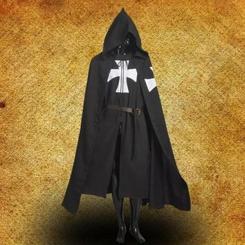 1pc Black MEDIEVAL WARRIOR Cosplay Costume TEMPLAR KNIGHT Cloak Robe