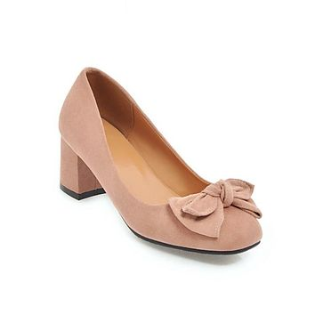 Sweet Butterfly Knot Suede Thick Heel Middle Heels Women Pumps