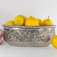 Large Fruit Bowl: Vintage Persian Oval Fruit Bowl with Hand Engraved Decorations, Islamic Art, Home Decor
