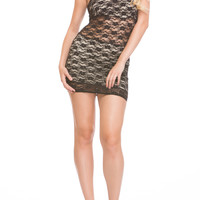 One Shoulder Lace Overlay Bodycon Dress - Tan