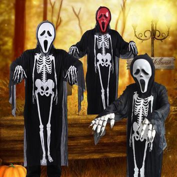 Skull Skulls Halloween Fall Halloween Costume  Skeleton Demon Ghost Cosplay Costumes Adults Children & Kids Carnival Masquerade Dress Robes Scary Mask Calavera