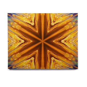 "Philip Brown ""Gold Star Icicles"" Gold Blue Birchwood Wall Art"