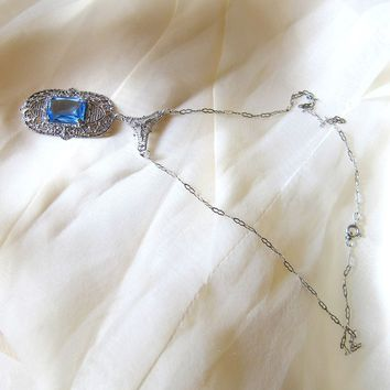 Art Deco Sterling Silver Blue Crystal Lavalier Necklace - Hallmarked