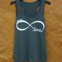 Forever shirt infinity tank top print sleeveless top/ workout tank top/ t shirts/ cool tees/ women shirts/ exercise clothing size S M L XL