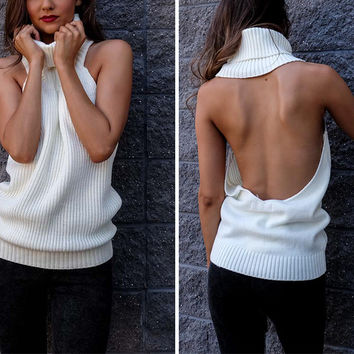 ♡ backless turtleneck knitted sweater ♡