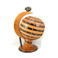Swedish Wooden Nut Holder, Globe Candy Server, Globular, Wooden Perched Bird, Vintage Home Decor, Price Includes USA Shipping