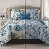 5pc Luxury Carolina Blue/ Ivory Reversible King Comforter Set