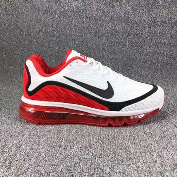 Nike Air Max Personality Sport Running Shoes Shock Absorption Shoes Sneakers White Red(Black Hook) I-CSXY