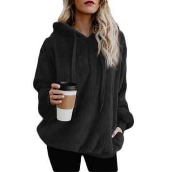 Large Size Women's Jacket Solid Color Piecing Long-Sleeved Hooded Pullover Sweatshirt