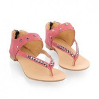 Sweet Women's Flat Sandals With Studs and Thongs Design