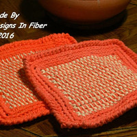 Orange and Cream Tweed Potholders Crocheted or Hot Pads Crochet  - Fall Colors Kitchen Decor - Earthy Rustic Home Decor - Eco Friendly