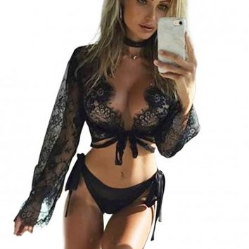 Black Long Sleeve Lace Crop Top with Panty