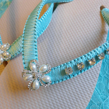 Beige bridal flip flops decorated with Tiffany Blue ribbon and rhinestones, Tiffany Blue Sandals Tan flip flops, Wedding Shoes, Macrame