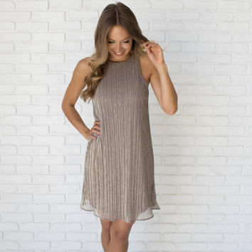 Unforgettable Memories Shift Dress In Gold