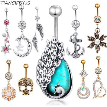 TIANCIFBYJS Woman Dangling Belly Navel Rings Skull Heart Flower 14g Body Piercing Nombril 1pcs Gold Sexy Pircing Belly Jewelry