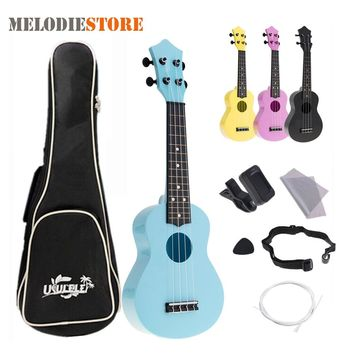 21 Inch Ukulele Acoustic Colorful Hawaii 4 String Guitar Guitarra for Kids Children Beginner + Ukelele Bag Strap Picks Tuner Set