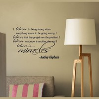 Quote It Audrey Hepburn Inspirational Quotes Vinyl Wall Art Home Decor Decal Sticker, 22 by 12-Inch, Black