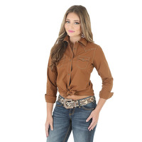 Wrangler Women's Western Long Sleeve Solid Brown Shirt