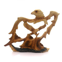 Animal EAGLE 6.5 INCH WOODLIKE CARVING Polyresin Majestic Bald Bird Mme308