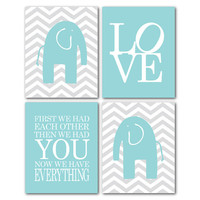 FIrst we had each other then we had you - Nursery Quad - Elephants on Gray Chevron - Love- Kids Art - New Baby Gift - Nursery print