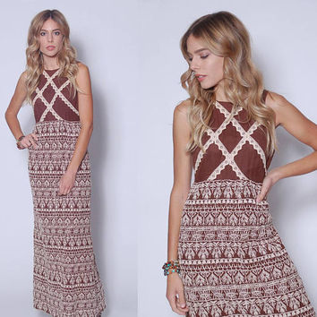 Vintage EMBROIDERED Maxi Dress 70s MOCHA Boho Dress Lace Hippie Dress ETHNIC Dress