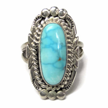 Traditional Vintage Navajo Turquoise Ring Size 7.5 Nita Edsitty