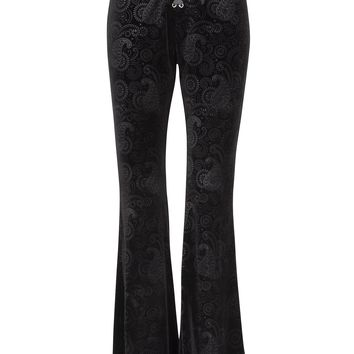 Black Burnout Velvet Satin Lace up Flared Bell Bottom Pants