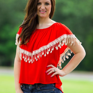 SALE-Just Now Top-Tomato/Ivory