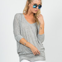 Soft 3/4 Dolman Sleeve Top