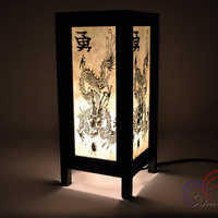 White Mulberry paper Table Lamp 11 inch High Old Dragon Lantern Beside Bedroom Lamp Decoration