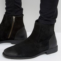 ASOS Chelsea Boots In Black Suede With Leather Heal Detail at asos.com